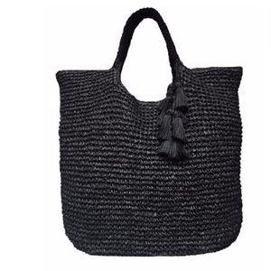 Fallon & Royce Black Mel Woven Straw Tote Bag